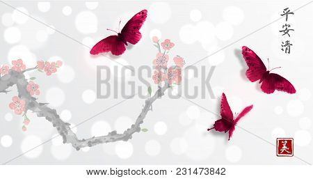 Sakura In Blossom And Three Big Butterflies On White Glowing Background. Traditional Oriental Ink Pa