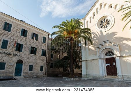 Herceg-novi, Montenegro - September 8: Music School And Church In The Old City In The European Day O