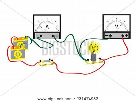The Electrical Circuit Consisting Of Connected: Consumer - A Bulb, Voltmeter For Measuring Voltage A