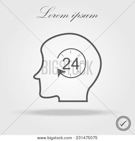 Human Head With 24h Icon Isolated On White Background. Vector Stock.
