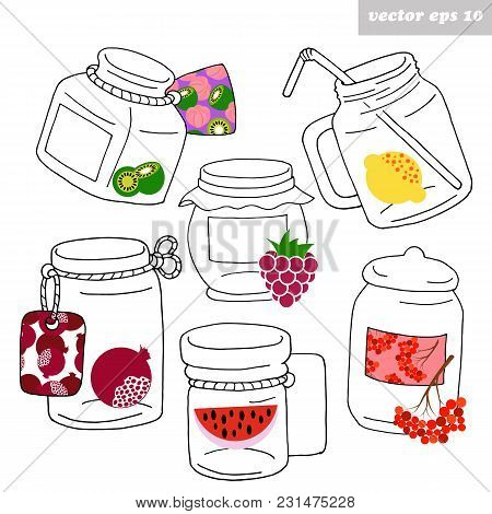Hand Drawn Different Shape Glass Jars With The Place For Your Text And Bright Fruit Elements .suitab