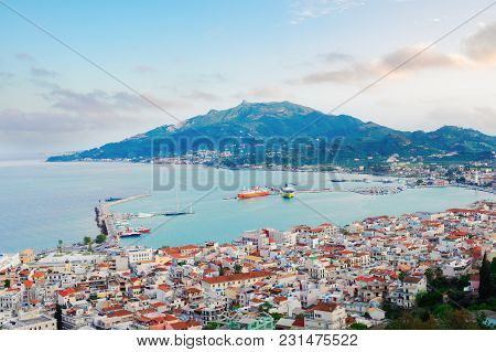 Zaante Town And Ionian Sea Harbour, Zakinthos Greece