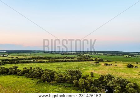 View Of Green Forest-steppe Plain. Flatland Valley In Evening Time. Belgorod Region, Russia.