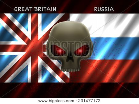 Great Britain And Russia Conflict. Two Square Flags And Skull With Red Eyes On Dark Background. Cold