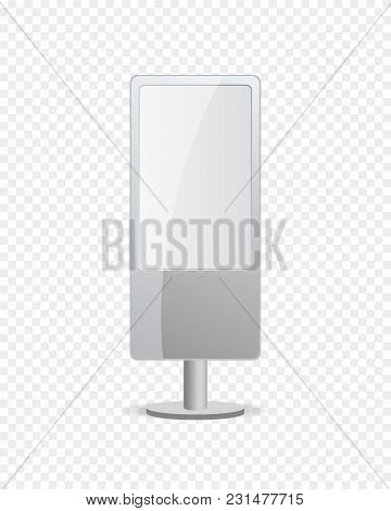 Interactive Advertising Digital Signage Mockup With Blank Touch Screen. Led Multimedia Panel Display