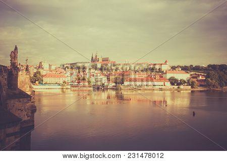 Vintage Style Image Of Prague Cityscape, Czech Republic