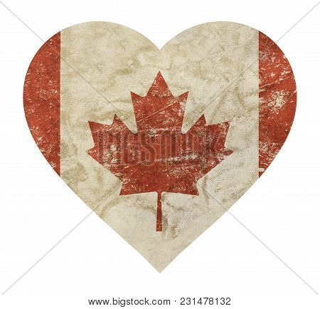 Heart Shaped Old Grunge Vintage Dirty Faded Shabby Distressed Canadian Canada Flag With Red Maple Le