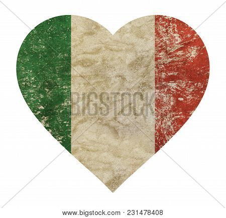 Heart Shaped Old Grunge Vintage Dirty Faded Shabby Distressed Italy National Flag Isolated On White