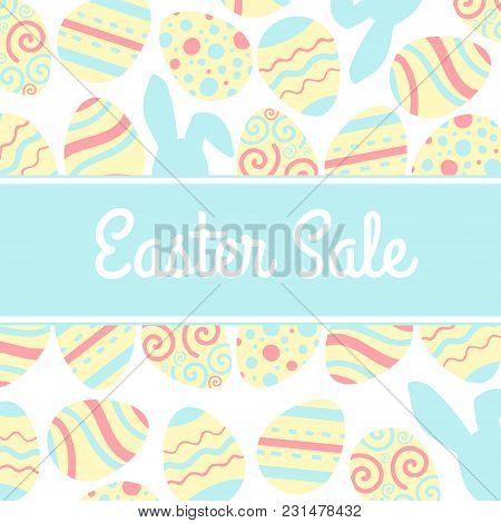 Illustration Of Special Easter Sale Banner With Pink Egg And Rabbit.