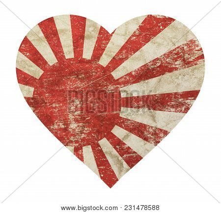 Heart Shaped Old Grunge Vintage Dirty Faded Shabby Distressed Japan, Nippon Or Nihon Koku Flag Isola
