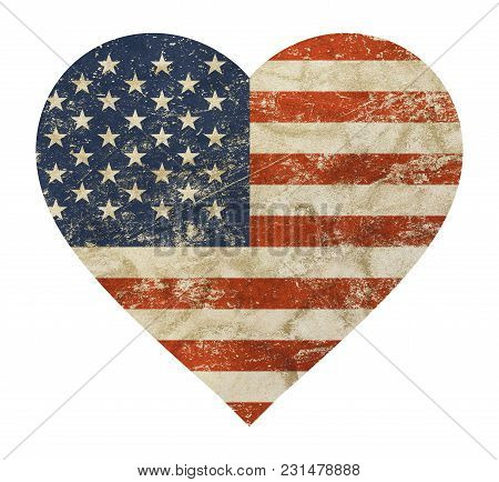 Heart Shaped Old Grunge Vintage Dirty Faded Shabby Distressed American Us National Flag Isolated On