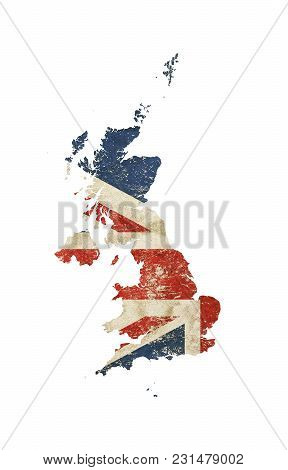 Uk Map Shaped Old Grunge Vintage Dirty Faded Shabby Distressed Great Britain National Flag Isolated