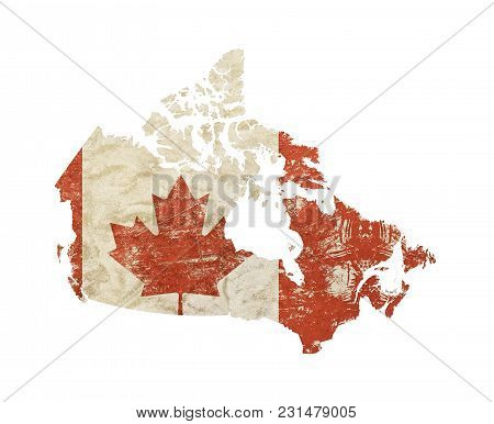 Canada Map Shaped Old Grunge Vintage Dirty Faded Shabby Distressed Canadian Flag With Red Maple Leaf