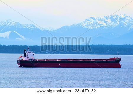 March 7, 2018 In Seattle, Wa:  Freighter Ship Docked At The Port Of Seattle In Seattle, Wa Which Is