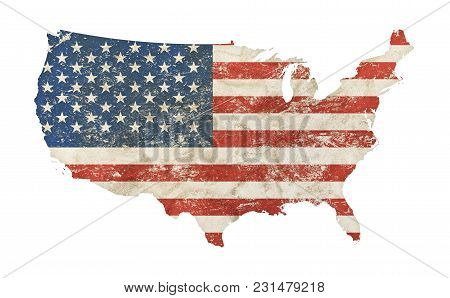 Us Map Shaped Old Grunge Vintage Dirty Faded Shabby Distressed American National Flag Isolated On Wh