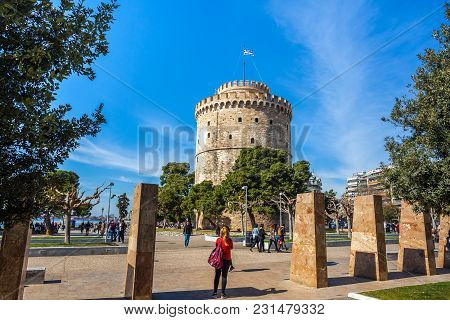 10.03.2018 Thessaloniki, Greece - The White Tower Of Thessaloniki On The Shore Of The Aegean Sea