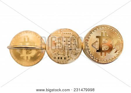Bitcoins With Tone Effect. Physical Bit Coins. Digital Currency. Cryptocurrency. Golden Coins