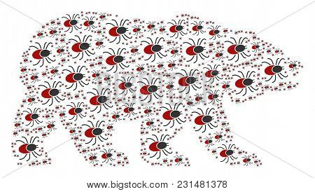 Bear Mosaic Designed Of Mite Tick Icons. Vector Mite Tick Design Elements Are United Into Geometric