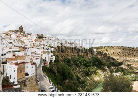 Arcos De La Frontera, Spain - May 2017: White Houses Of Arcos De La Frontera Old Town On The Hill