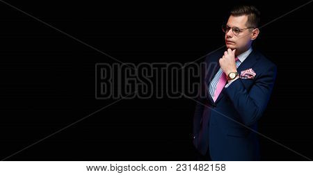 Young Caucasian Elegant Smart Clever Friendly Business Man Serious Thoughtful In Blue Suit Standing