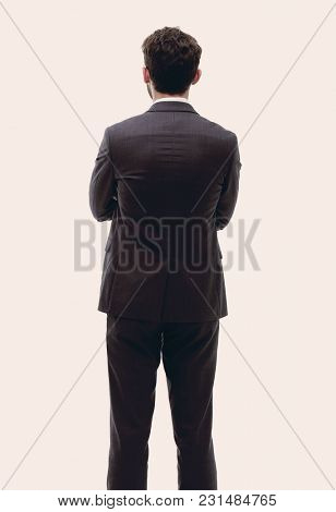 rear view, full-length of a businessman standing and looking for