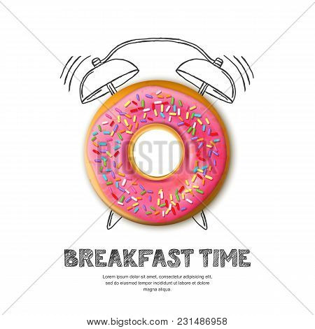 Vector Design For Breakfast Menu, Cafe, Bakery. Donut And Hand Drawn Alarm Clock Isolated On White B