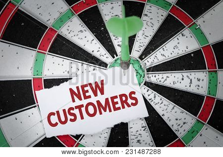 New Customers Note On Notepaper With Dart Arrow And Dart Board. Marketing, Advertisement, Business C