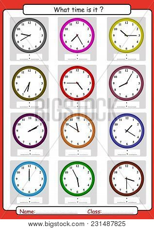 What Time Is It, What Is The Time, Draw The Time, Learning To Tell Time, Math Worksheet