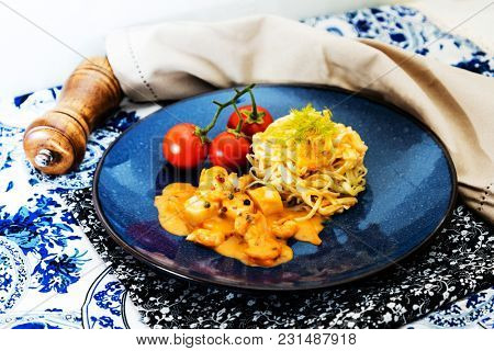 Pasta with Scallops Dinner Dish on a the table
