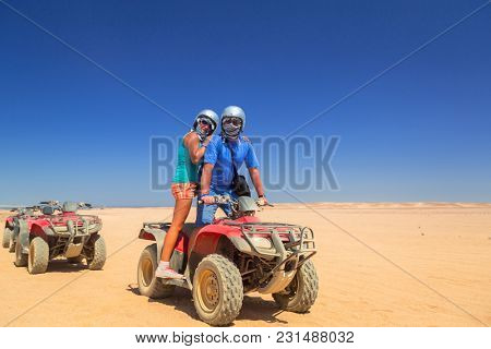 Quad trip on african desert of Egypt