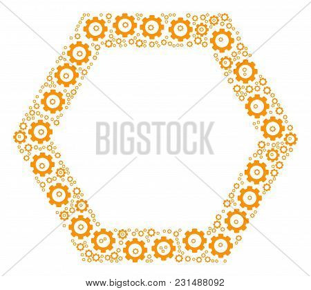 Contour Hexagon Mosaic Of Cogs. Vector Cog Wheel Objects Are Combined Into Contour Hexagon Figure.