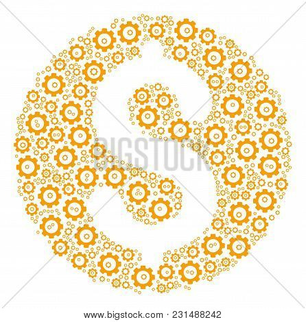 Dollar Coin Composition Of Vector Gears. Vector Cog Wheel Components Are Combined Into Dollar Coin C