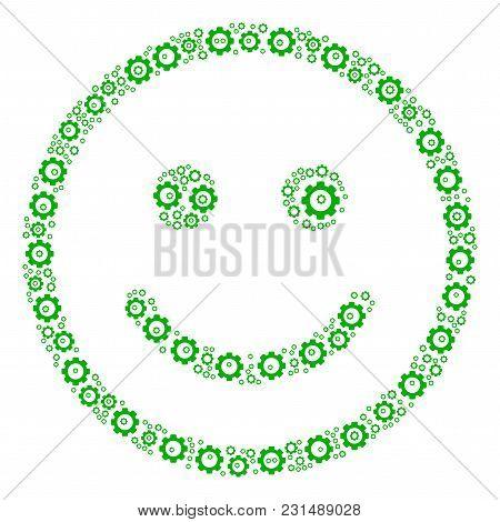 Glad Smiley Composition Of Cog Wheels. Vector Cog Parts Are Organized Into Glad Smiley Figure.