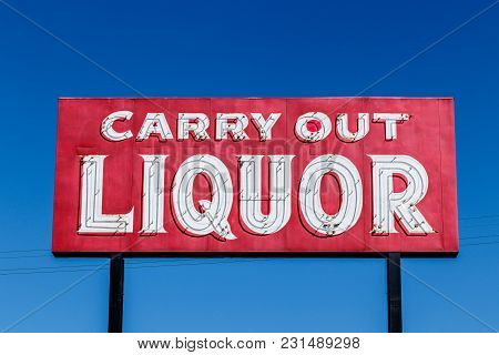 Red Neon Carry Out Liquor Sign I