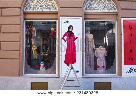Sarajevo, Bosnia-erzegovina - February, 16: Muslim Clothes Shop In Bascarsija On February 15, 2018