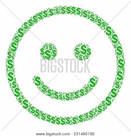 Glad Smiley Mosaic Of Dollar Symbols. Vector Dollar Icons Are Organized Into Glad Smiley Illustratio