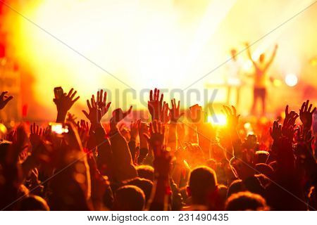 crowd enjoying live concert at music festival