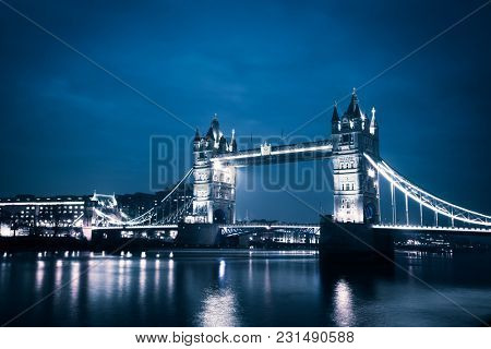 tower Bridge by night, London, UK