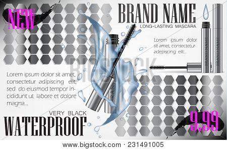 A Mascara Tube And Wand Applicator. Cosmetic Silver Bottle With Eyelash Brush. Splashing Water Drops