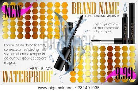 A Mascara Tube And A Wand Applicator. Cosmetic Black Bottle With Eyelash Brush. Splashing Water Drop