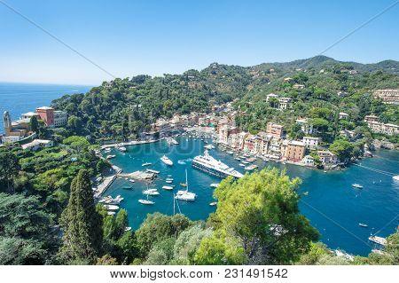 Famous Portofino On Ligurian Coast, Italy, Mediterranean Sea. Panoramic View