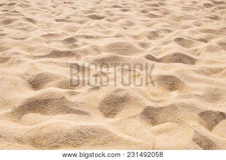 Beautiful Sand Beach Pattern Background. Brown Sandy Texture
