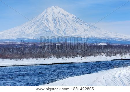 Koryaksky Volcano On The Kamchatka Peninsula In The Winter
