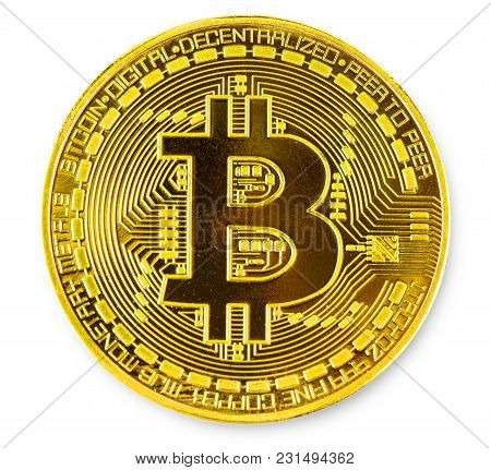 Face Of The Crypto Currency Golden Bitcoin Isolated On White Background. The Concept Of Virtual Inte