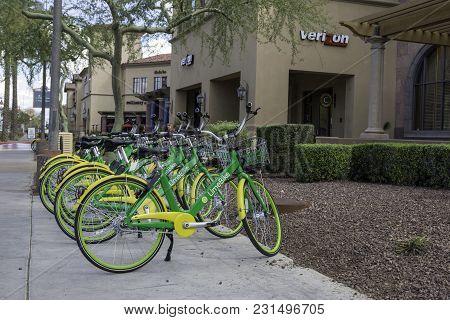 Scottsdale, Arizona Usa - March 11, 2018: Community Rental Bicycles For Public Use Using A Smart Pho