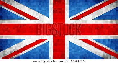 Grunge Mosaic Flag Of Great Britain - Illustration,  Flag Of United Kingdom,  Abstract Grunge Mosaic