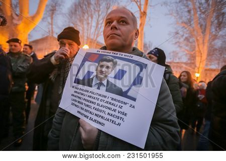 Zagreb, Croatia - 3rd March, 2018 : Man Holding A Sign With Portrait Of Prime Minister Andrej Plenko