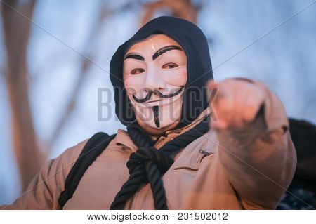 Zagreb, Croatia - 3rd March, 2018 : Man Dressed As Anonymous Protesting Against The Financial Enforc