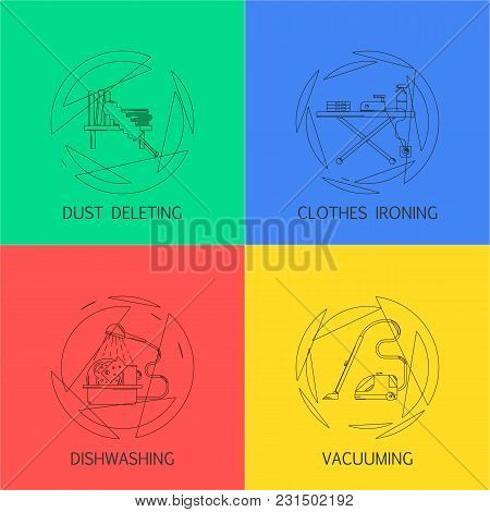 Cleaning Service Banners Set Vector Illustration Template