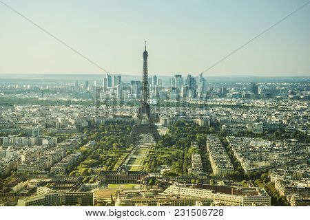 Panoramic View Of The Eiffel Tower, The Famous Landmark Of Paris. Paris, France, Europe. The Busines